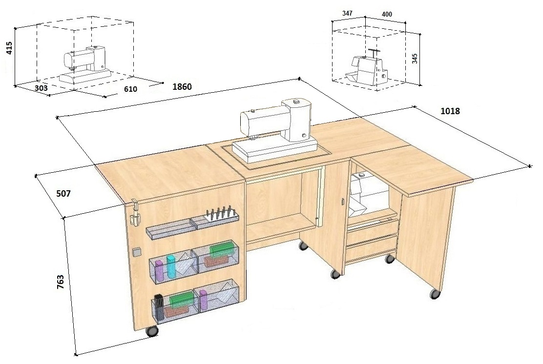 Comfort 5l Sewing Machine And Overlocker Table